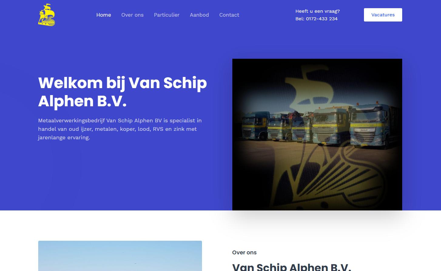 Lees meer over het artikel Nieuwe Website – Van Schip Alphen B.V.